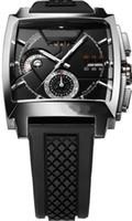 al por mayor ls reloj de acero-GRAND NUEVO LS DÍA / FECHA Mens del acero inoxidable reloj de los deportes de los HOMBRES de los RELOJES DE PULSERA CORREA DE GOMA NEGRO
