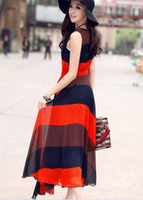 Wholesale 2012 cheap woman s bohemian style sleeveless long dress beach Chiffon skirt lady holiday dress
