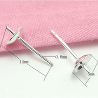 Wholesale 20pcs Sterling Silver Earring Needles Finding For DIY Craft Jewelry x6x14mm WP042