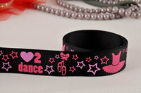Wholesale Party Ribbon Dance skirt print grosgrain ribbon hairbows black yards