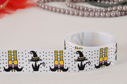 Wholesale Party Ribbon Halloween day grosgrain ribbon hairbows white yards