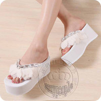 Wholesale high heels slope sandals summer women sexy fashion cute lovely rhinestone Petal slippers flip flops