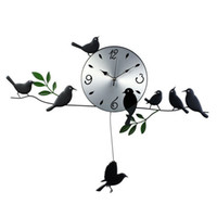 Mechanical   Hot Selling! Iron artwork wall clock, exported quiet movement, eight lively birds, home decoration