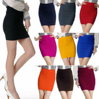 Wholesale Women Ladies Cany Color Bodycon Bandage Stretch Ribbed Panel Mini Skirt