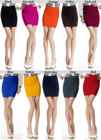 Wholesale 10 Women Ladies Cany Color Bodycon Bandage Stretch Ribbed Panel Mini Skirt