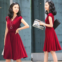 Cheap V_Neck waist dress Best Knee Length A Line women clothes