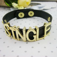 Wholesale punk style black leather women bangle capital letter mens bracelet with gold press stud
