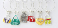 Wholesale wine glass charms wine bottle charms gift for lady sets per with set chosen from styles