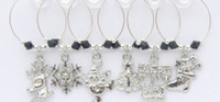 Wholesale christmas wine glass charms wine bottle charms sets with set chosen from styles