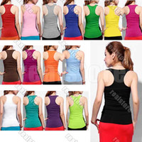 95%Cotton+5%Spandex Women Sleeveless 10pcs lot+Womens Ladies Racerback Tank Tops Cami Mini Sleeveless Vest Waistcoat T-Shirt