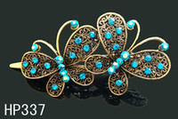 Wholesale Hot Sale woman hair jewelry vintage crystal rhinestone Butterfly hair clips hair accessories Mixed colors HP337