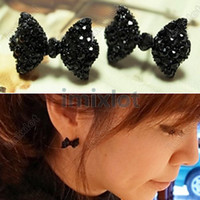 Wholesale Jewelry Black Rhinestone Crystal Bowknot Bow Tie Earring Stud Imixlot Jewelry ZOE019