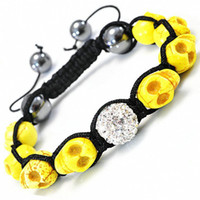 Wholesale Inspired SKULL Bracelet Natural Howlite and Swarovski Crystals