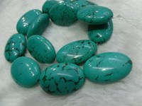 Wholesale 20x30mm Big Natural Turquoise Flat Oval Beads Semi precious stone beads Freee shipping