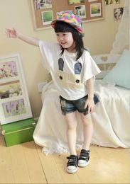 Wholesale Hot Fashion Children Clothing Children Place Store Girl Cotton Tshirt rabbit applique Bat Tshirts