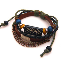 Wholesale Handknitted leather bracelet adorned with chains beads and fish bone carved sign men s bracelet