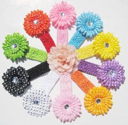 Wholesale Polka Dot Gerber Crochet Headbands Daisy Flowers Baby Hair bows Head bows Girls Head Accessories