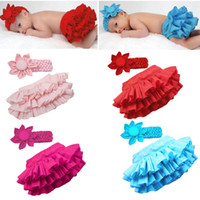 Wholesale Babay clothing Baby PP pants Flower headhand Baby girl Ruffle lace tutu skirt dress clothes set infa