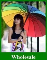 auto shade - Popular South Korea colors Rainbow Umbrella Sun Umbrella Auto bones Beach Women