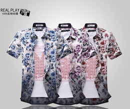 Wholesale 2012 summer short sleeve men shirt fashion flower printing beach shirts cotton