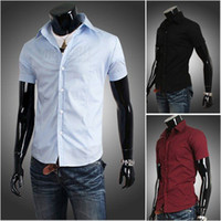 Wholesale hot sale men s casual slim shirts solid color short sleeve color M L XL