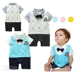 Wholesale boy One Piece romper Academic Handsome short sleeve romper baby Vest Romper worldtrade68