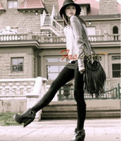 Wholesale Ba0327 Popular Black Tassel Bag Ladies PU Leather Handbags Messenger Bag Shoulder Bag High Quality