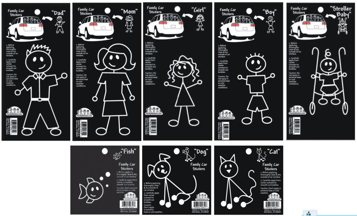 Car window sticker designs - Free Shipping 400pcs Lot Family Car Window Stickers