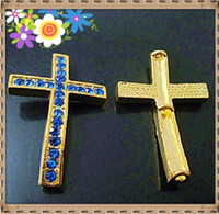 Wholesale blue crystal sideways pave gold cross connect fits for sideway bracelet chain necklace YB7