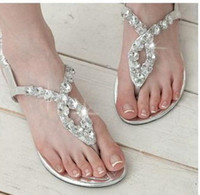 Wholesale Cheap stylish flat sandals crystal sparkling women girl sexy fashion lovely buckle casual shoes