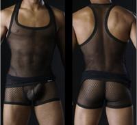 Wholesale Men s underwear hawt sexy net black purple red white green yellow vest M L XL
