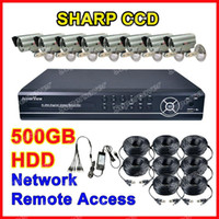Wholesale 48 LED IR CCD Cameras GB H CH Net DVR CCTV Security System Realtime Monitoring Recording