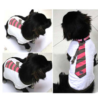 Wholesale Pet Dogs Cotton Printing Tie Clothes Thin T Shirt Apparel Blue Coffee XS M L