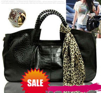 Wholesale Newest woman top quality PU leather handbag messenger bags with silk scarf fashion design top1