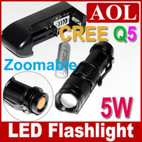 Wholesale Mini LED Torch Flashlight W LM SK68 CREE Q5 Adjustable Focus Zoom flash Light Battery Charger