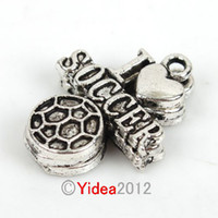 Wholesale 120pcs New Sports LOVE Soccer Zinc Alloy Charms Pendants Fit Necklace Jewelry Diy