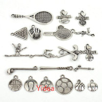 Wholesale 80pcs New Mixed Items Zinc Alloy Charms Sports Pendants Fit Necklace Jewelry Diy
