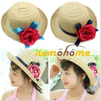 Wholesale children hat straw hat sun hat Natural hat princess flower hat dandys
