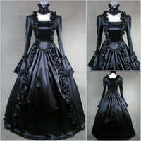 Wholesale CustomMade Fall Vintage Ruffle Full Length Gothic Victorian Ball Gown Wedding Dresses Vintage Gothic Bridal Gowns Vestidos