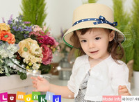 Wholesale Children girl blue ribbon bow hat baby hat dandys