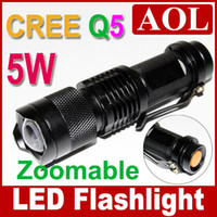 Wholesale UltraFire W SK68 Bright CREE Q5 LED Flashlight Adjustable Focus Zoom flash Light LC mah battery AC charger