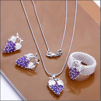 Cheap Factory price fashion 925 silver the grapes necklaces earrings rings jewelry set free shipping 5set