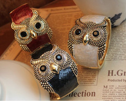 Wholesale Top fashion owl bangles alloy enemal women cuff bangle bracelet mix colors cheap
