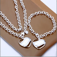 Wholesale Hot couple fashion jewelry set necklace bracelet silver semi solid Valentine s Day gift set