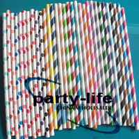 2000pcs Mixed Polka Dot Striped Paper Straws, Drinking Paper ...
