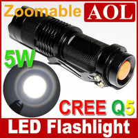 Wholesale 10pcs UltraFire SK68 W Lm CREE Q5 LED Flashlight zoomable waterproof High Power Torch LC14500 Battery mah AC charger