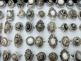 25pcs Top-quality Tibet silver tone Abalone shell stone ring