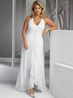 Wholesale Chiffon Plus Size Sheath white Beading Sleeveness Halter Sweep Train Beach Wedding dresses