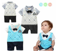 3-6 Months academic style - 2012 new style Boy One Piece romper Academic Handsome short sleeve romper baby Vest Romper two color