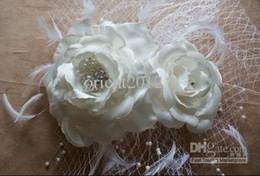 Wholesale Beautifully Glamorous New Birdcage Bridal Veil White Pearl Feather Fascinator
